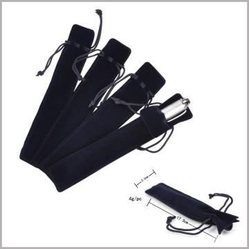 Weicher schwarzer Feder Samttasche mit Linie, samt Stift Geschenktüte