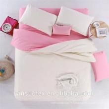 Ensemble de literie en couleur unie rose et blanc Ensemble de housse de couette imprimé réactif