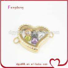 24K or acier inoxydable coeur médaillon bracelet