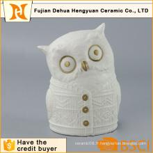 Figure de hibou en céramique blanche pour cadeau de bureau