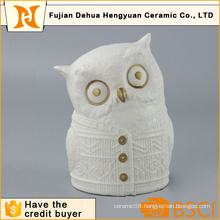 White Ceramic Owl Figure for Desktop Gift