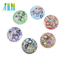Nouvelle mode Millefiori plat ronde Lampwork verre charme pendentifs pour collier 12pcs / boîte, MC0014