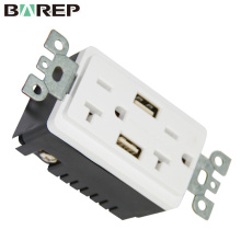 Electrical USB Charger Wall Outlet 20A Dual USB High Speed Fast Power Plug Socket 5VDC&4A Charging Port