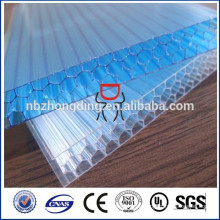 uv geschützte 6/8 / 10mm ge lexan bayer wabe polycarbonat blatt für gewächshausdach