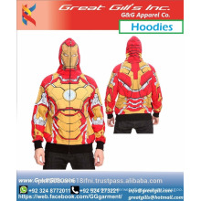 Super hero printed custom made hoodie animated sublimated