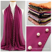 Hot sale top quality 40 colors white pearl chiffon hijab women chiffon dubai muslim scarf hijab wholesale