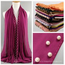Горячая распродажа высокое качество 40 цветов белый жемчуг шифон хиджаб шифон женщины Дубай мусульманский шарф хиджаб оптовая