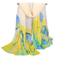 Populaire imprimé fleur tulipe en gros malaisie maxi hijab bulle en mousseline de soie châle écharpe