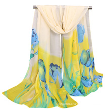 Popular printed flower tulip wholesale malaysia maxi hijab bubble chiffon shawl scarf
