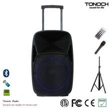 15 polegadas PA ao ar livre DJ Speaker com luz LED azul