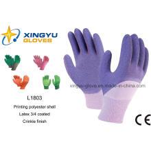 Хлопок Interlock Shell Латекс 3/4 покрытием вязать запястье безопасности рабочих перчаток (L1803)