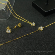 s925 silver jewelry set gold-plated heart-shaped diamond necklace bracelet earrings