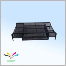 Suporte de monitor de metal de malha de mesa com gaveta de extrair