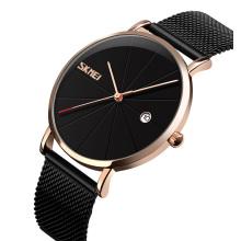 New watch custom logo SKMEI  9183 Men  quartz watch  mesh stainless steel band custom watch