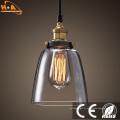 Lampe à suspension lumineuse en verre à décor vintage avec vis E27