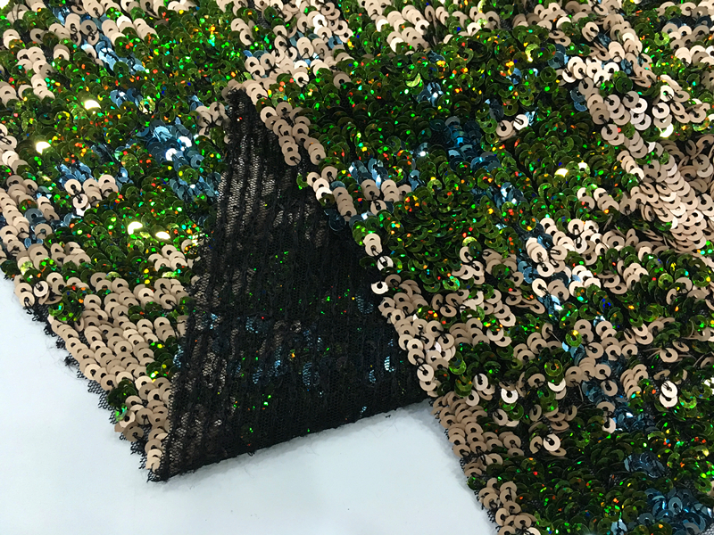 Multicolor Geometry Design Sequin Embroidery Fabric