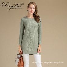 2017 de alta calidad del otoño del cuello redondo 100% Italia merino lana mujer señoras suéter