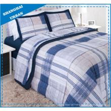 Conjunto de cama de capa de edredão de poliéster listras Vintage Navy