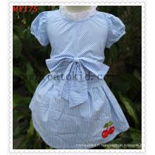 Robe de bébé d'été d'enfants de conception de robe de jupe de coton avec l'arc