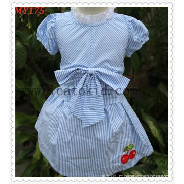 Saias do algodão do vestido do verão das crianças do projeto do bebê do vestido com arco