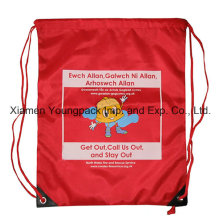 Mochila de nylon personalizada personalizada cordão Backpack Kids Bag