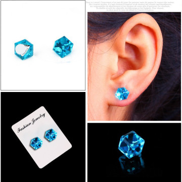 Water cube health magnet color diamond crystal earrings