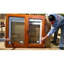 Factory sale price prehung windows thermal break aluminum window with interior red oak wood cladding
