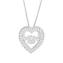 Jóias de diamante de dança em forma de coração 925 Pingentes de prata