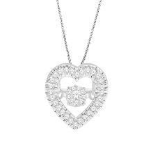 Heart Shape Dancing Diamond Jewelry 925 Silver Pendants
