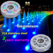 Super Bright DMX 9W Waterproof led fountain light, SS316 LED underwater light for Pool, Fountain