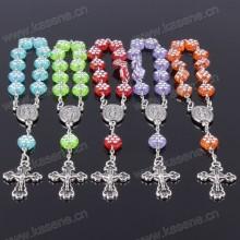 Moda barato plástico rosário beads pulseira com cruz