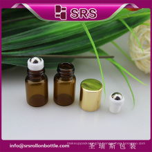 SRS no leakage empty glass roll on bottle , amber color 1ml glass roll on bottle