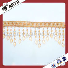 Light Brown Beaded Fringe For Curtain Decorative Bead Fringes Knotting Fringe
