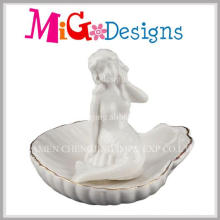Novo design exclusivo suporte de anel de forma de sereia de cerâmica
