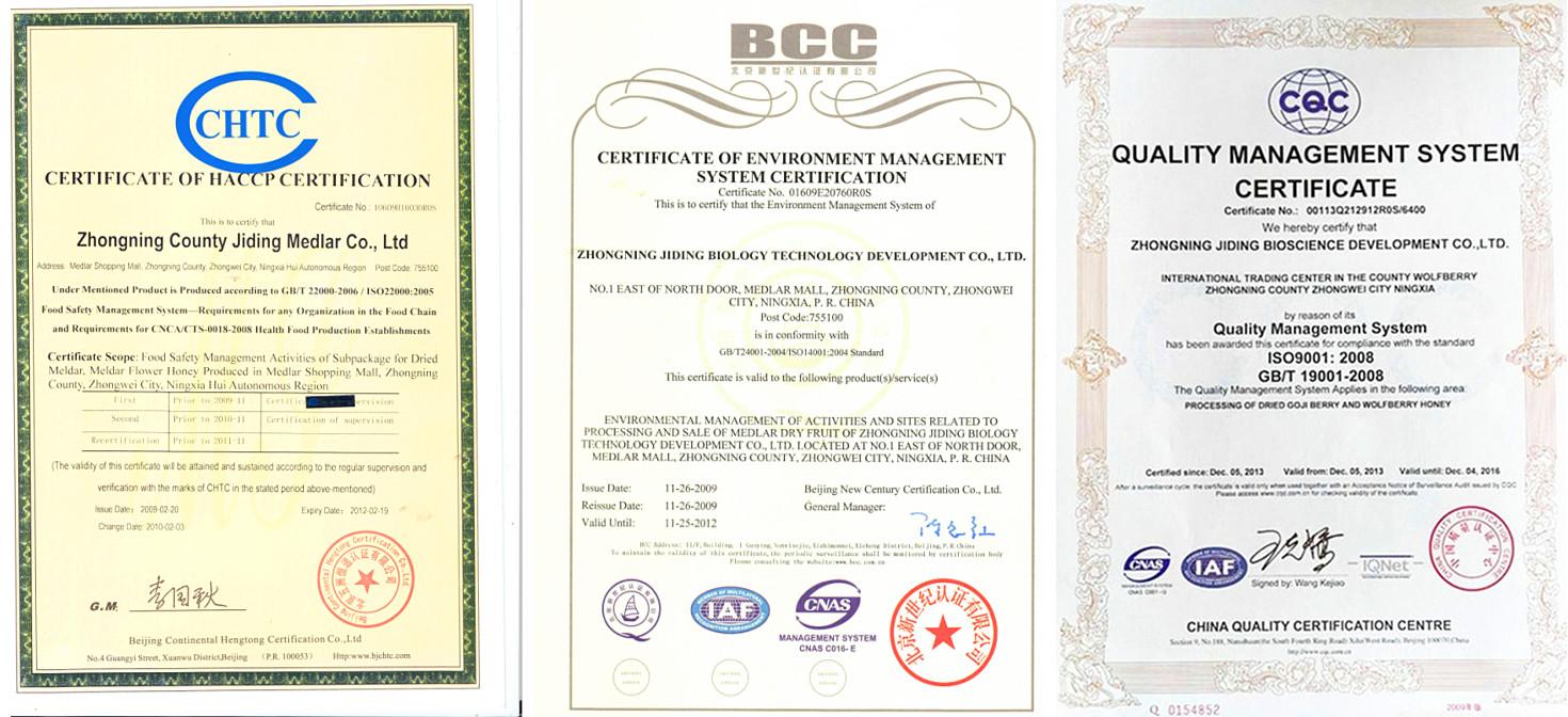 Goji berry certificate