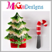 Low Price Gift Idea Christmas Tree Plate and Spreader Set