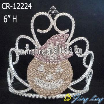 6 Inch Rhinestone Pumpkin Crown For Halloween
