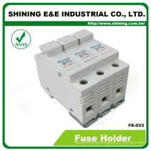 FS-033 Din Rail Mounted 600V 32A 3 Pole 10x38 Porcelain Fuse Holder
