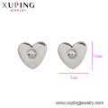 E-337 xuping high quality simple stainless steel heart shape rhinestone ladies stud earrings