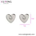 E-337 xuping высокое качество простой нержавеющей стали в форме сердца горный хрусталь женские серьги