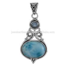Natural Larimar et Blue Blue Topaz Pierres précieuses 925 bijoux pendentif en argent massif