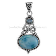 Натуральный Ларимар И Голубой Топаз Драгоценных Камней 925 Твердое Серебро Кулон Ювелирные Изделия