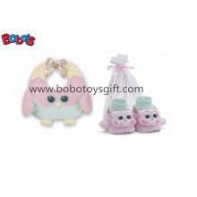 Plush Soft Pink Owl Baby Bib and Booties Gift Set Bosw1112