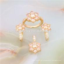 Zircon flor 18k italiano banhado a ouro conjuntos de jóias