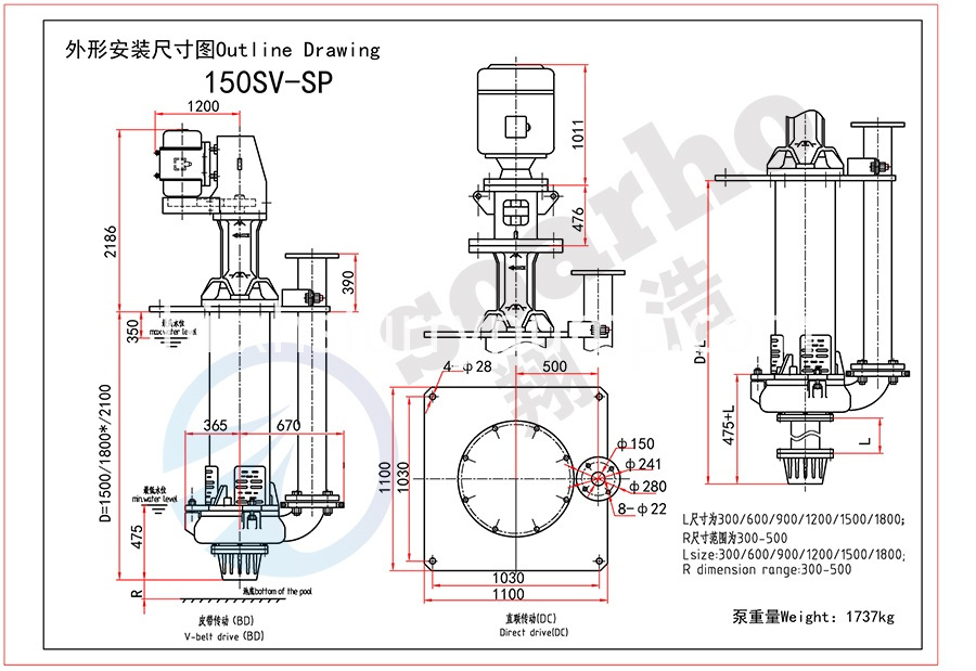 150mm Size Sump Slurry Pump