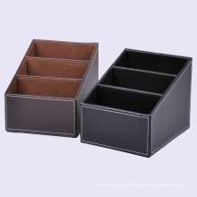 Black / Brown Leather Desktop Organizer