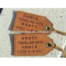 Tag elegante da bagagem do couro do viagem