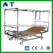 stainless steel manual hospital bed with lifting pole