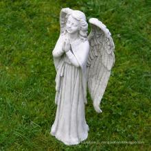 Jardin Décoration Pierre Sculpture Vie Taille Marbre Priant Ange Statue