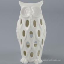 Alta calidad blanco cerámica buho vela titular